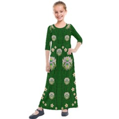 The Way To Freedom One Island One Gnome Kids  Quarter Sleeve Maxi Dress