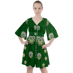 The Way To Freedom One Island One Gnome Boho Button Up Dress