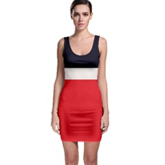Navy Blue With Red Bodycon Dress by tmsartbazaar