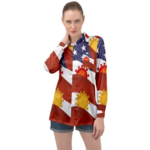 Flage Save Usa Corona Long Sleeve Satin Shirt by HermanTelo