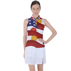 Flage Save Usa Corona Women s Sleeveless Polo Tee by HermanTelo
