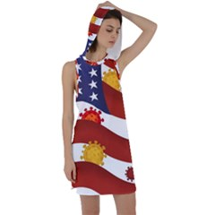 Flage Save Usa Corona Racer Back Hoodie Dress
