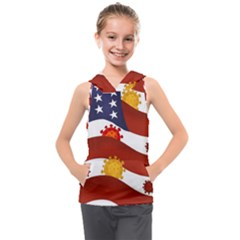 Flage Save Usa Corona Kids  Sleeveless Hoodie