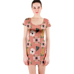 Flower Pink Brown Pattern Floral Short Sleeve Bodycon Dress