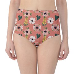 Flower Pink Brown Pattern Floral Classic High-waist Bikini Bottoms by Alisyart