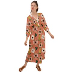 Flower Pink Brown Pattern Floral Grecian Style  Maxi Dress