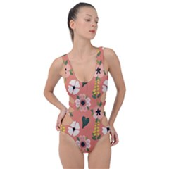 Flower Pink Brown Pattern Floral Side Cut Out Swimsuit by Alisyart