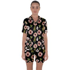 Flower Black Pattern Floral Satin Short Sleeve Pyjamas Set