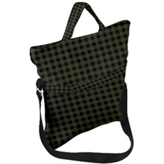 Army Green Black Buffalo Plaid Fold Over Handle Tote Bag