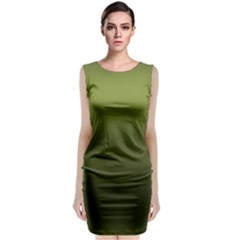 Army Green Gradient Color Classic Sleeveless Midi Dress by SpinnyChairDesigns