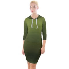 Army Green Gradient Color Quarter Sleeve Hood Bodycon Dress by SpinnyChairDesigns