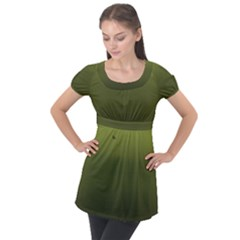 Army Green Gradient Color Puff Sleeve Tunic Top