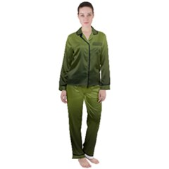 Army Green Gradient Color Satin Long Sleeve Pyjamas Set