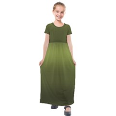 Army Green Gradient Color Kids  Short Sleeve Maxi Dress