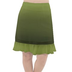 Army Green Gradient Color Fishtail Chiffon Skirt by SpinnyChairDesigns