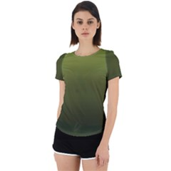 Army Green Gradient Color Back Cut Out Sport Tee by SpinnyChairDesigns