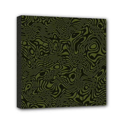 Army Green And Black Stripe Camo Mini Canvas 6  X 6  (stretched)