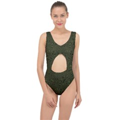 Army Green And Black Stripe Camo Center Cut Out Swimsuit
