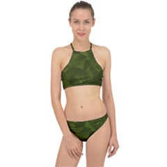 Army Green Color Pattern Racer Front Bikini Set
