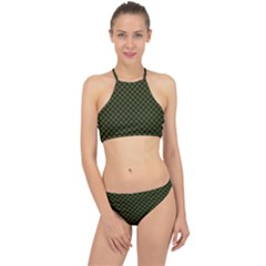 Army Green And Black Plaid Racer Front Bikini Set