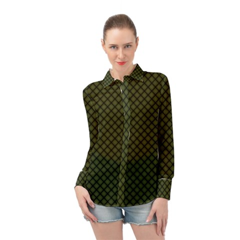 Army Green And Black Plaid Long Sleeve Chiffon Shirt by SpinnyChairDesigns