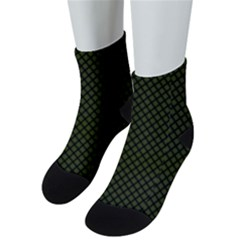 Army Green And Black Plaid Men s Low Cut Socks