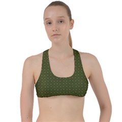 Army Green Color Polka Dots Criss Cross Racerback Sports Bra