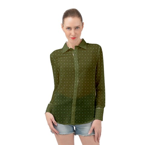 Army Green Color Polka Dots Long Sleeve Chiffon Shirt by SpinnyChairDesigns