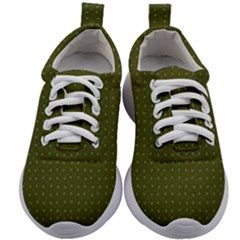 Army Green Color Polka Dots Kids Athletic Shoes