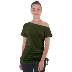 Army Green Color Polka Dots Tie-up Tee