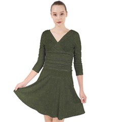Army Green Color Polka Dots Quarter Sleeve Front Wrap Dress