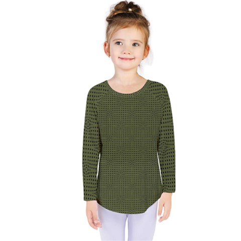 Army Green Color Polka Dots Kids  Long Sleeve Tee by SpinnyChairDesigns
