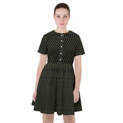 Army Green Black Stripes Sailor Dress