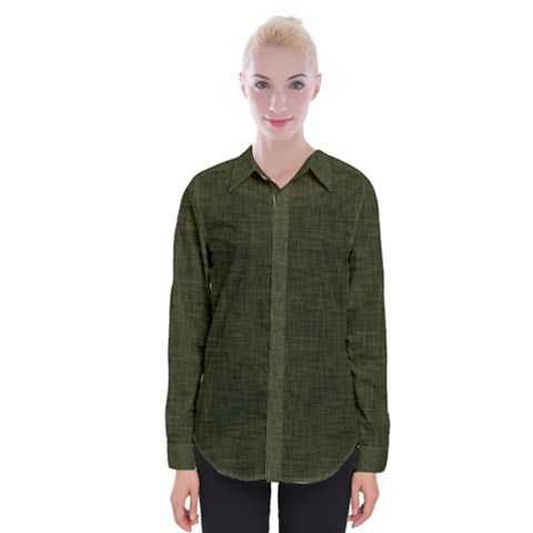 Army Green Texture Womens Long Sleeve Shirt by SpinnyChairDesigns