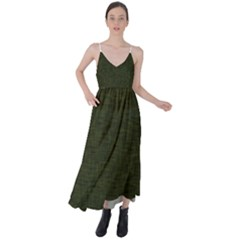 Army Green Texture Tie Back Maxi Dress by SpinnyChairDesigns