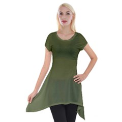 Army Green Color Ombre Short Sleeve Side Drop Tunic