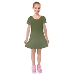 Army Green Color Ombre Kids  Short Sleeve Velvet Dress by SpinnyChairDesigns