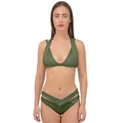 Army Green Color Ombre Double Strap Halter Bikini Set by SpinnyChairDesigns