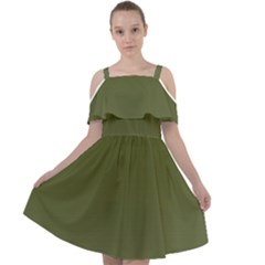 Army Green Color Ombre Cut Out Shoulders Chiffon Dress by SpinnyChairDesigns