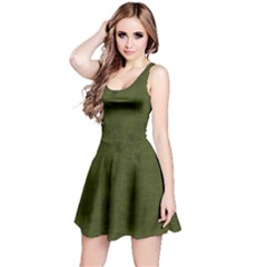 Army Green Color Grunge Reversible Sleeveless Dress by SpinnyChairDesigns