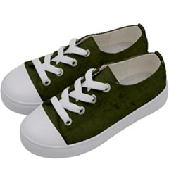 Army Green Color Grunge Kids  Low Top Canvas Sneakers by SpinnyChairDesigns