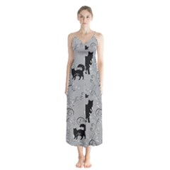 Grey Black Cats Design Button Up Chiffon Maxi Dress by Abe731