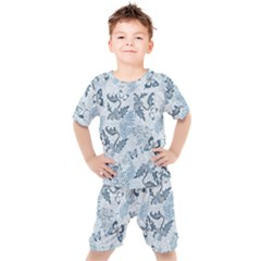 Nature Blue Pattern Kids  Tee And Shorts Set