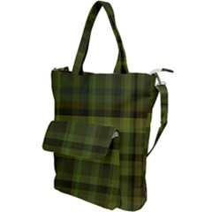 Army Green Color Plaid Shoulder Tote Bag