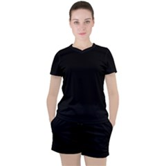 True Black Solid Color Women s Tee And Shorts Set
