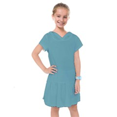 True Cadet Blue Teal Color Kids  Drop Waist Dress