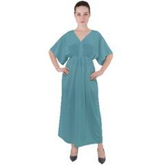 True Cadet Blue Teal Color V-neck Boho Style Maxi Dress