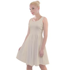 True Champagne Color Knee Length Skater Dress by SpinnyChairDesigns