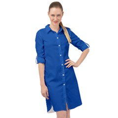 True Cobalt Blue Color Long Sleeve Mini Shirt Dress