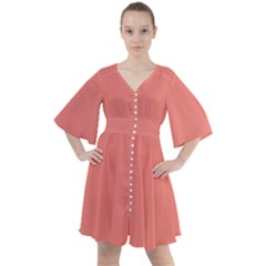 True Coral Pink Color Boho Button Up Dress